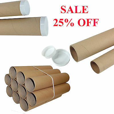 Postal Packing Tubes Cardboard A1 A3 A4 Poster Paper Extra Strong & Plastic Caps