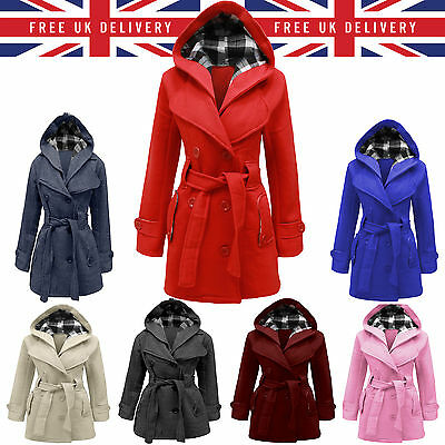 Hot Ladies Womens Jacket Hooded Winter Belted Fleece Duffle Coat Outwear Uk Smlx