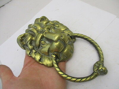 Antique Solid Brass Door Knocker Lions Head Architectural Salvage Old Vintage