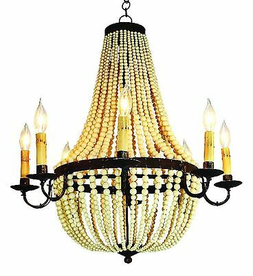 NEW 8-light Large Antique IRON Bronze Beaded FRENCH CHIC bohemian Chandelier