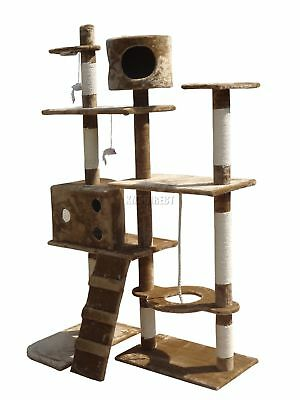 FoxHunter Cat Tree Scratching Post Activity Centre Bed Toys Scratcher 2299 Brown