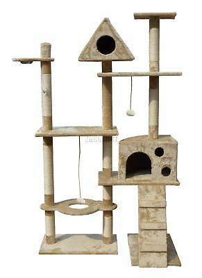 FoxHunter Beige Kitten Cat Tree Scratching Post Sisal Toys Activity Centre 2200