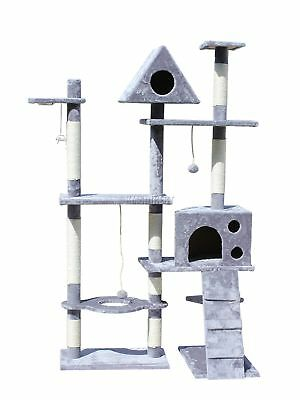 FoxHunter Grey Kitten Cat Tree Scratching Post Sisal Toys Activity Centre 2200