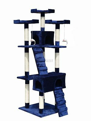FoxHunter Kitten Cat Tree Scratching Post Sisal Toy Activity Centre Blue 608