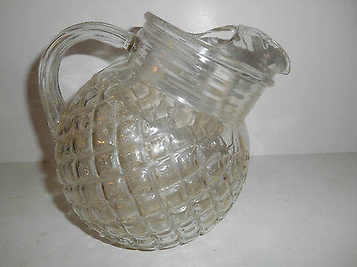 Pretty Crystal Waterford Waffle 24 oz. Tilted Juice Pitcher by Anchor Hocking