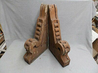 Antique Pair Wood Corbels Roof  Bracket chic Old Victorian Vtg Gingerbread 23-16