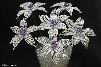 6 French Beaded Lily Handmade Flowers White and Purple
