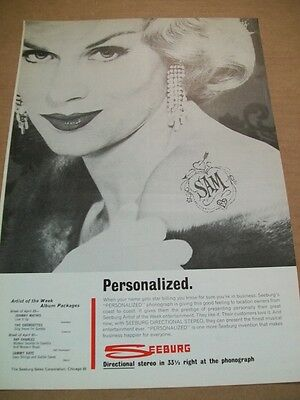 Seeburg personalized phonograph 1962 Ad- artists of the week