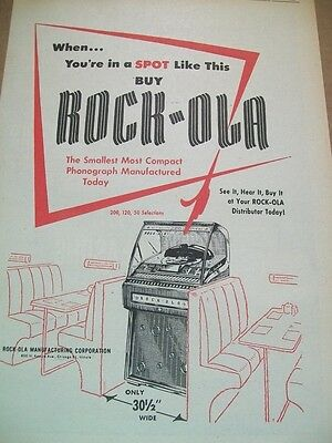 Rock-Ola 200 120 50 Selection phonograph 1957 Ad-when you're in a spot like this