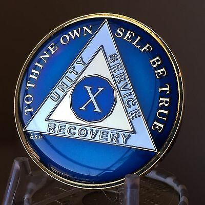 10 Year Midnight Blue AA Medallion Alcoholics Anonymous Chip Gold Tri Plate