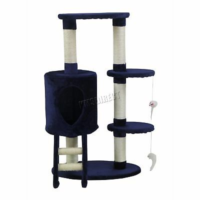 FoxHunter Cat Tree Scratching Post Activity Centre Bed Toys Scratcher M004 Blue