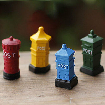 Miniature Post MailBox Fairy Garden DollHouse Statues Craft Ornament Garden DIY