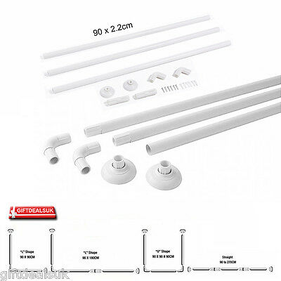 New Aluminium Alloy Bath Corner Shower Curtain Rod Rail L And U Shape White Pole
