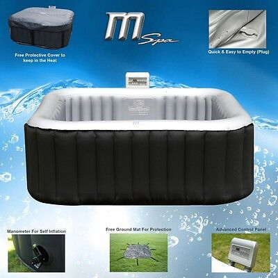 MSPA Alpine Luxury Inflatable 2+2 Square Portable Jacuzzi Hot Tub Spa System
