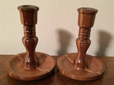 Pair Antique Carved Turned Wood Candlesticks Wooden Inlay Candle Holder
