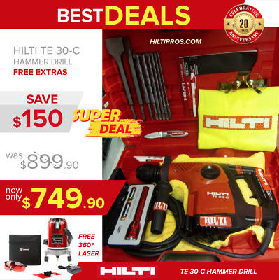 Hilti Te 30-C Avr Hammer Drill, Preowned, Free 360 Laser Level, Bits, Fast Ship