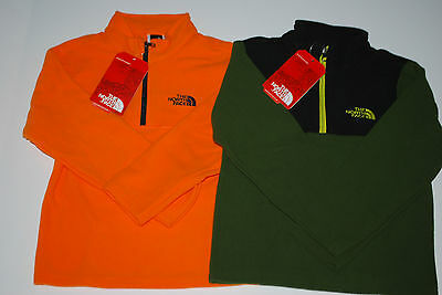 Nwt The North Face Glacier 1/4 Zip Fleece Jacket Orange Green Black S L Xl Boys
