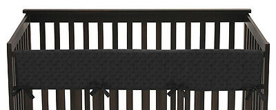 Jojo Solid Black Minky Dot Front Rail Guard Crib Cover Baby Teething Protector