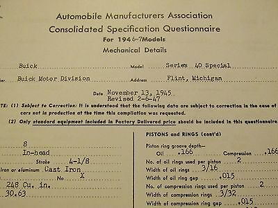 """1946-1947 Buick Special Series 40 """"AMA Consolidation Specification"""" Book"""