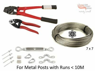 33 Balustrade Kits 316 Stainless Steel 100m Wire Rope Swager Tool Turnbuckle MM