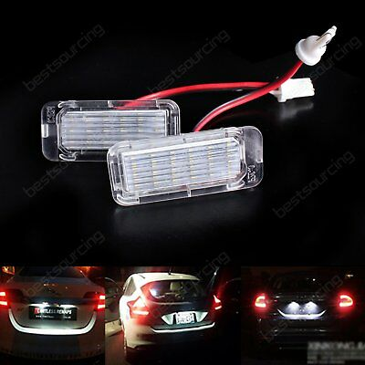 2 White LED License Number Plate Light Ford Focus C-MAX S-MAX Mondeo Kuga Ranger