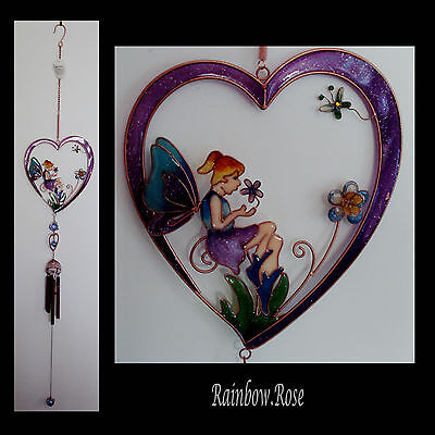 Windchime #34Pp HEART - FAIRY flowers PURPLE Blues Wind Chime