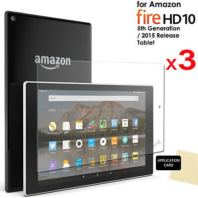 3x CLEAR Screen Protector Covers for Amazon Fire HD 10 Tablet (2015/5th Gen)