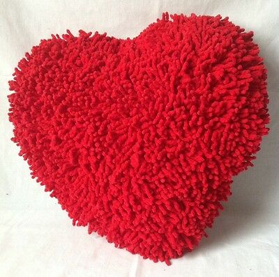 Red Heart Shaped Chenille Throw Pillow Shaggy Yarn Valentines Day