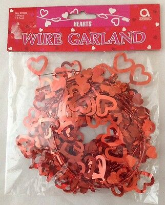 Amscan Hearts Wire Garland 12 Feet Red Metallic Valentines Day Party Decoration