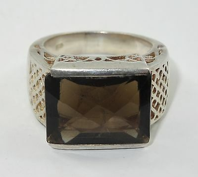 FABULOUS VINTAGE 60's STERLING RING w/ LARGE ~ 14 ct SMOKY TOPAZ * sz 7.25
