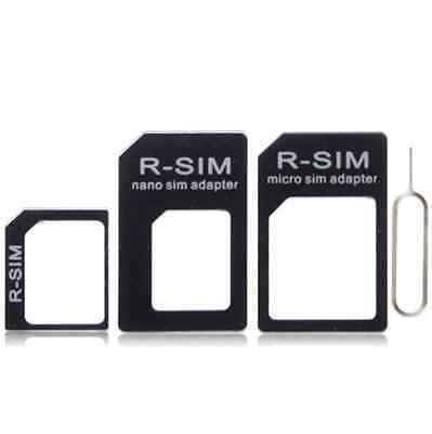 4 in 1 Nano Micro Sim Card Adapter Set iPhone 4 5 6 Samsung HTC Sony Universal
