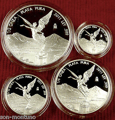 2011 Mexico Libertad Fractional Proof Set / Complete 4 coins .999 Silver Bullion