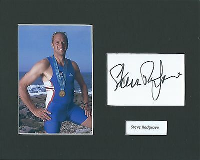 Hand Signed Steve Redgrave 10X8 Photo Mount And Card Display - Rowing Legend