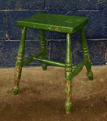 ~Antique ~Vinatge ~Solid Wood ~Green Painted ~Old Milking Stool in VGC~