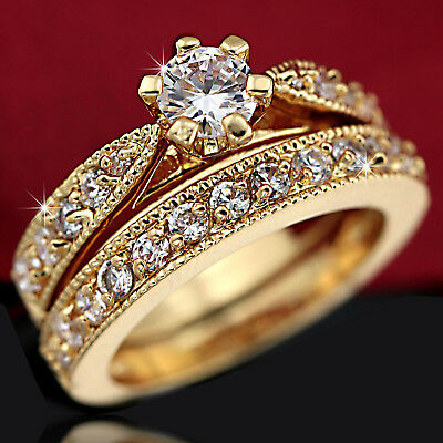 18K Yellow Rose White Gold Gf Solid 1Ct Engagement Wedding Ring Set Lab Diamond
