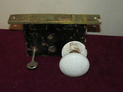 Antique White Porcelain Door Knobs & Lock Assembly Brass Plate FC
