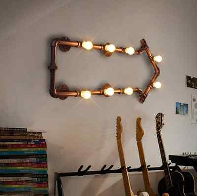 Vintage Indutrial  Style Arrow Shape Sconce Antique Rust Pipe Wall Light 8 Bulb