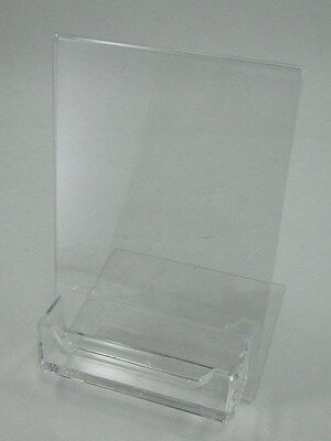10 acrylic 4x6 slanting slanted display sign holder with  business card holder