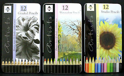 12 Drawing Colouring Sketching Pencils Artists Watercolour Studio Graded Colour