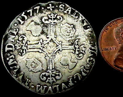P857: 1577 Scottish James VI Hammered Silver Half Merk - very clear date