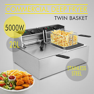 Electric Deep Fryers Stainless Steel Commercial Twin Fat Chip Fryer Double Tank