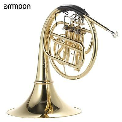 ammoon French Horn B/Bb Flat 3 Key Brass Gold Lacquer Wind Instrument NEW Q49C