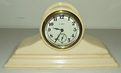 Antique 1920's Celluloid Art Deco 8 Day Mini Tambour Mantel Shelf Clock Made USA