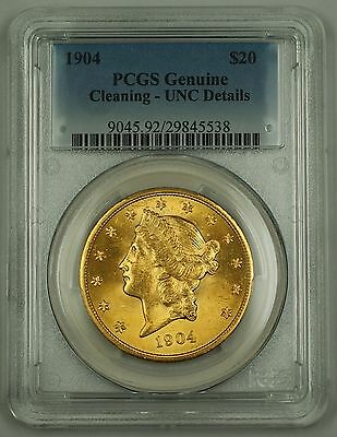 1904 Twenty Dollar Gold Double Eagle Coin $20 PCGS UNC Details Cleaning