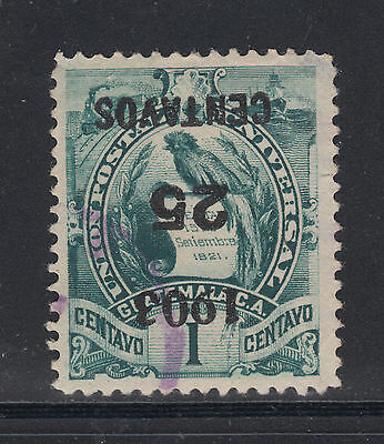 Guatemala Sc 124a used. 1903 Inverted 25c Surcharge on 1c green, perf thin