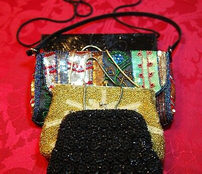 Lot of 4 Gorgeous Vintage Clutch Purses Beaded Rhinestone Embelished Shimmering