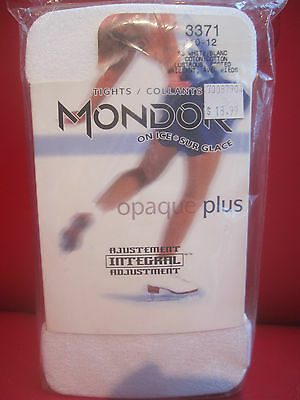 New FIGURE SKATING TIGHTS FOOTED THICK Mondor 3371 White size 10-12 Child