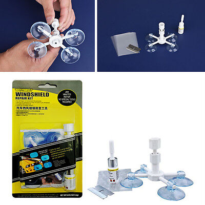 Car Windscreen Glass Repair DIY Glue Resin Chip Crack Repairing Tool &Holder Kit