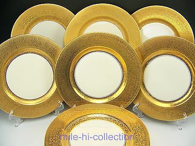 "12 Antique Victorian Trade Mark ""coronet"" Gold Encrusted Dinner Plates"