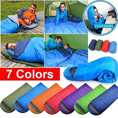 Adult Waterproof 3 Season Single Camping Hiking Suit Case Envelope Sleeping Bag